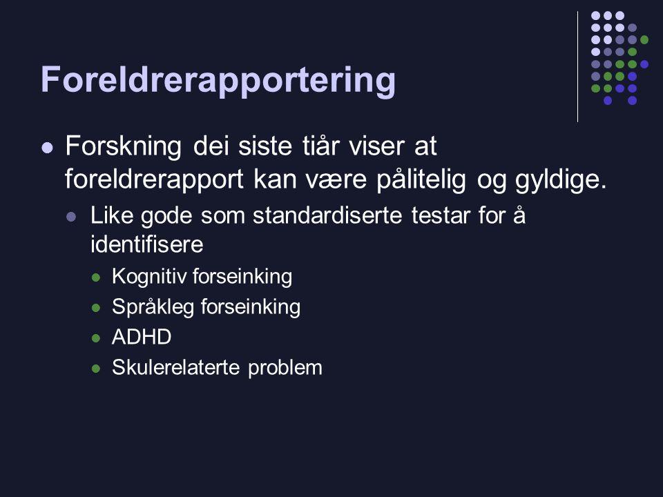 Foreldrerapportering