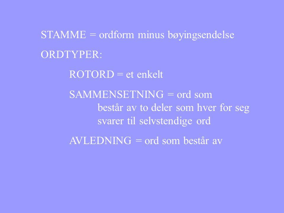 STAMME = ordform minus bøyingsendelse