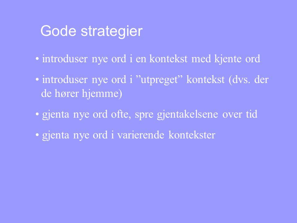 Gode strategier introduser nye ord i en kontekst med kjente ord