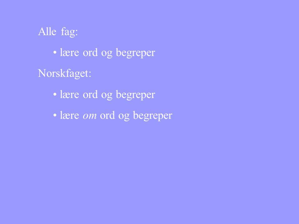 Alle fag: lære ord og begreper Norskfaget: lære om ord og begreper