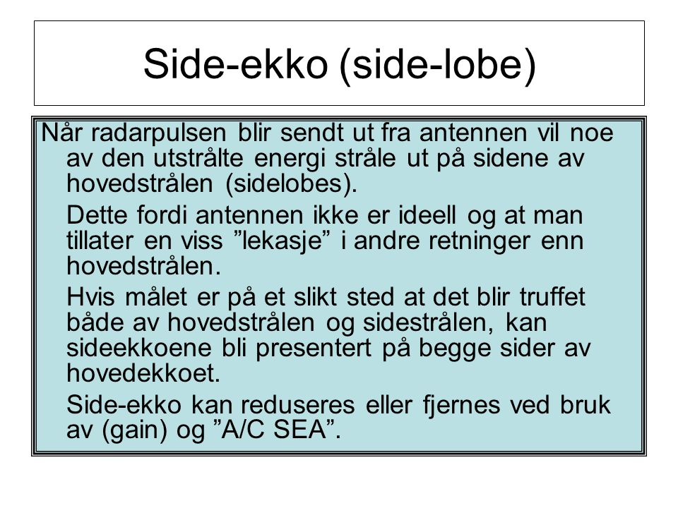 Side-ekko (side-lobe)