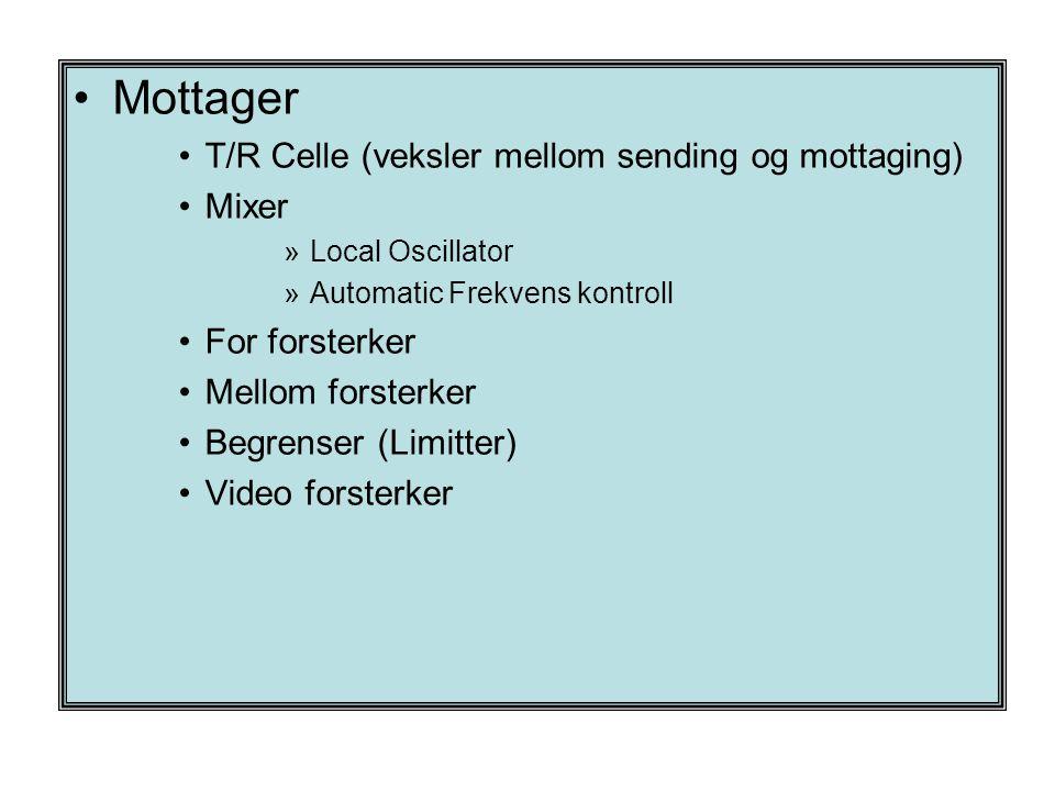 Mottager T/R Celle (veksler mellom sending og mottaging) Mixer