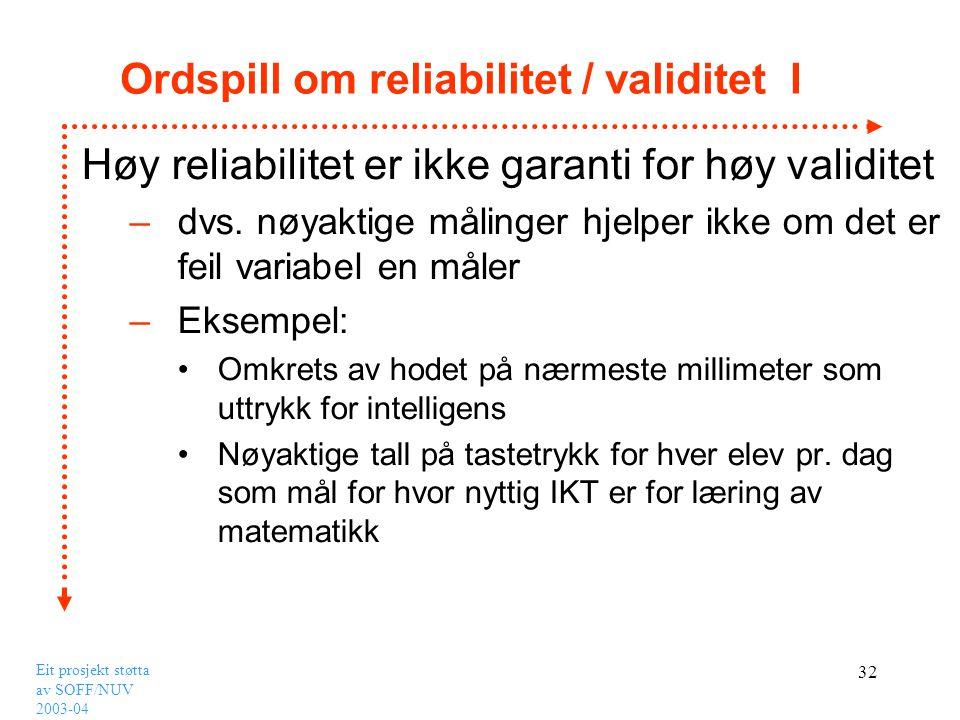Ordspill om reliabilitet / validitet I