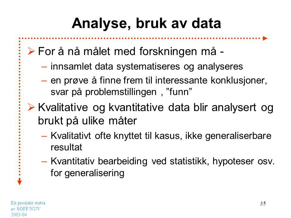 Analyse, bruk av data For å nå målet med forskningen må -