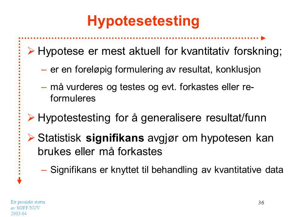 Hypotesetesting Hypotese er mest aktuell for kvantitativ forskning;