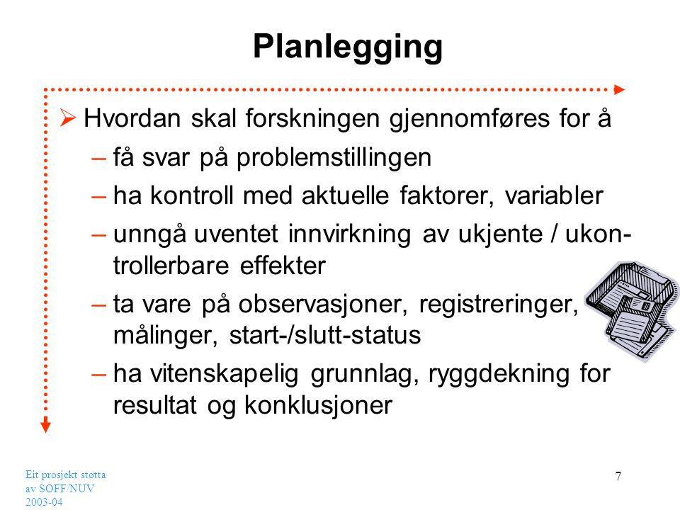 Planlegging Hvordan skal forskningen gjennomføres for å