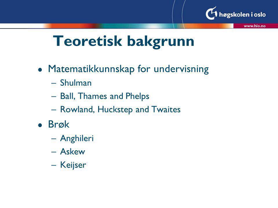 Teoretisk bakgrunn Matematikkunnskap for undervisning Brøk Shulman