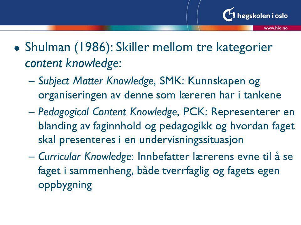Shulman (1986): Skiller mellom tre kategorier content knowledge: