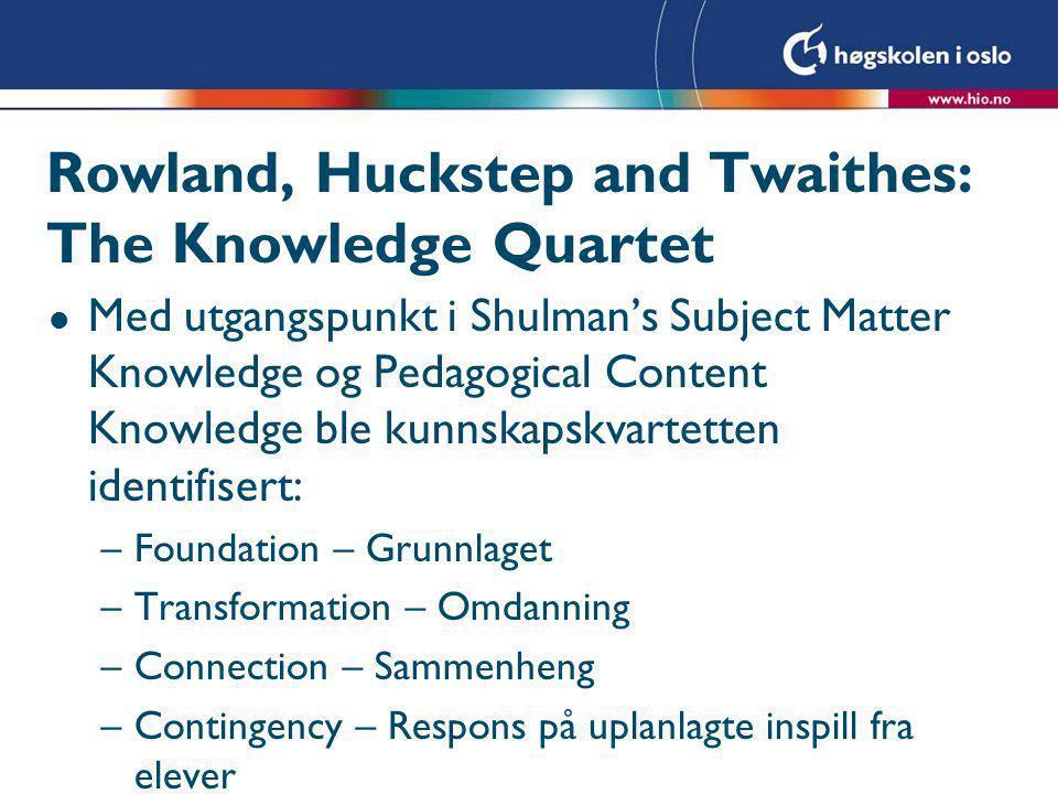 Rowland, Huckstep and Twaithes: The Knowledge Quartet