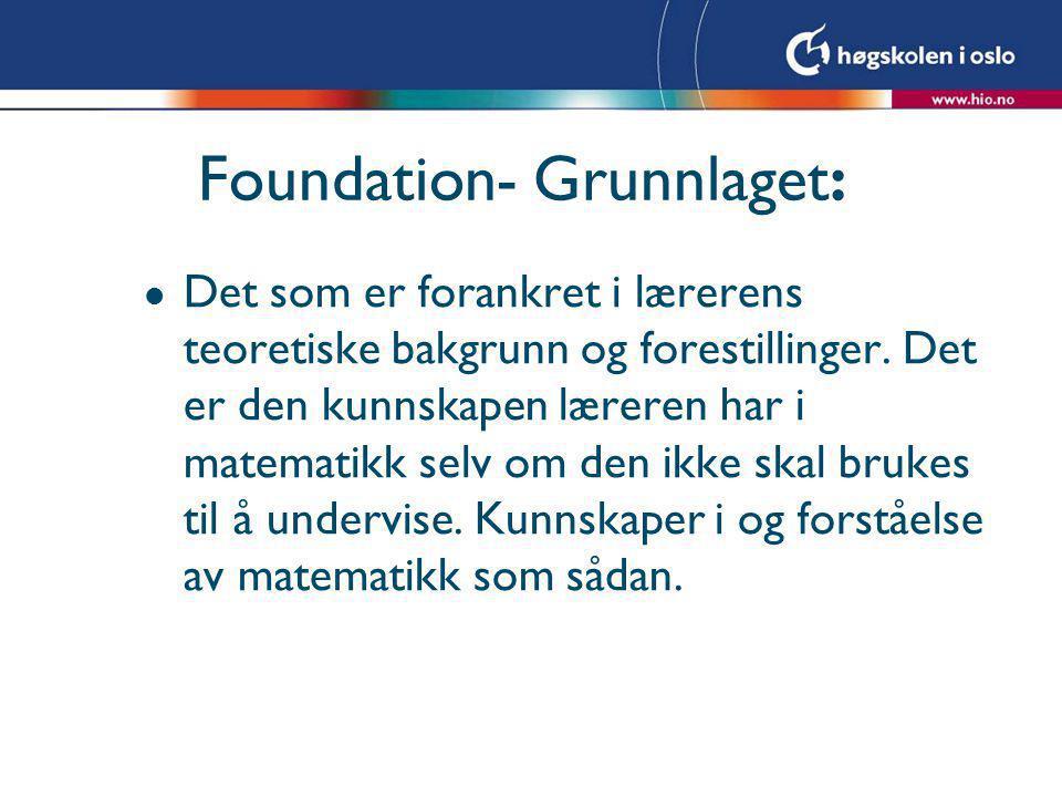 Foundation- Grunnlaget: