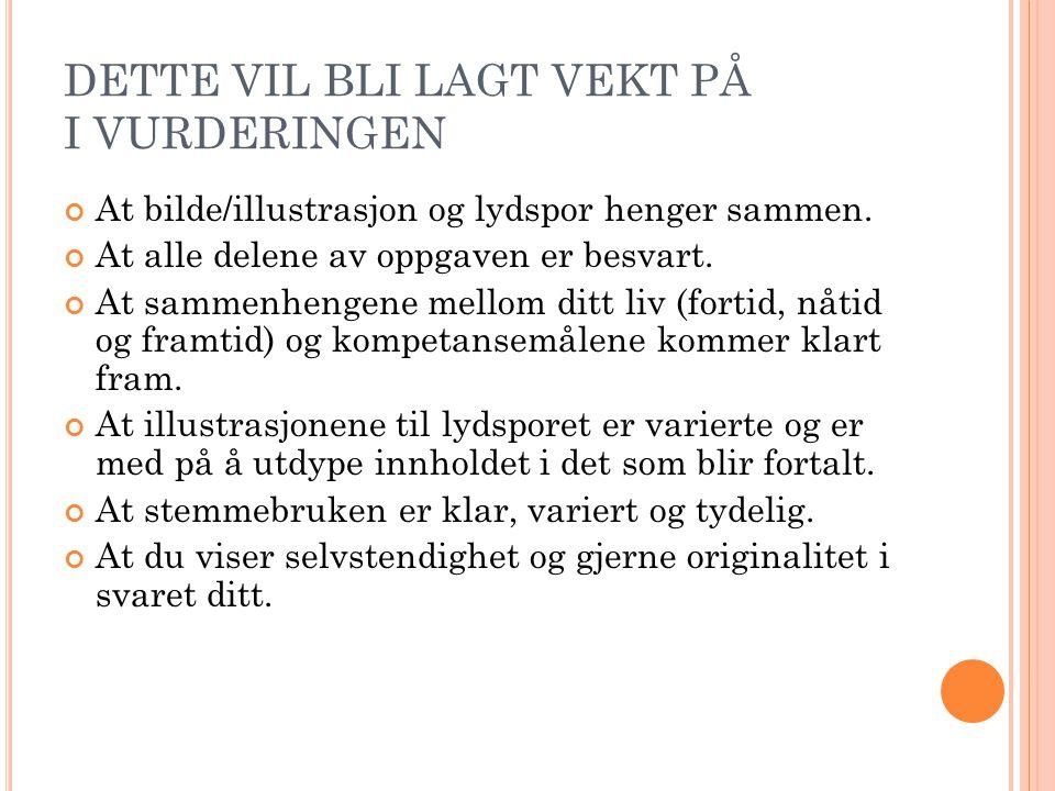 DETTE VIL BLI LAGT VEKT PÅ I VURDERINGEN