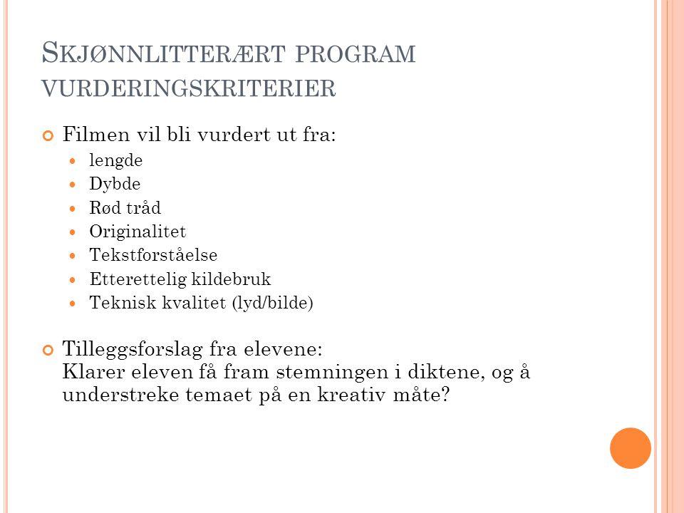 Skjønnlitterært program vurderingskriterier