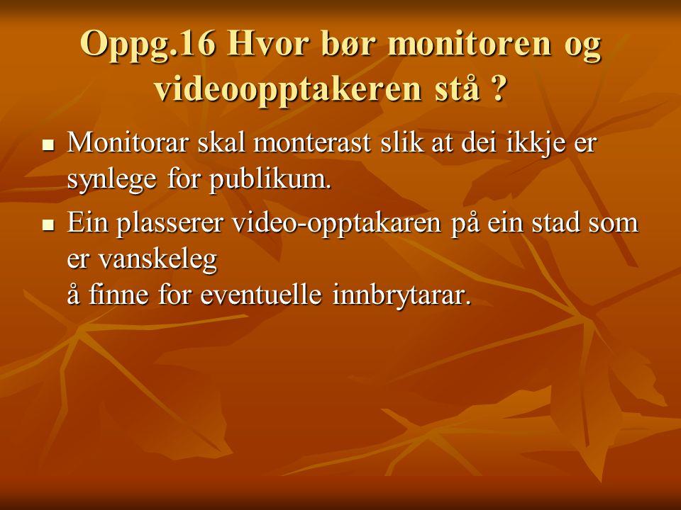Oppg.16 Hvor bør monitoren og videoopptakeren stå