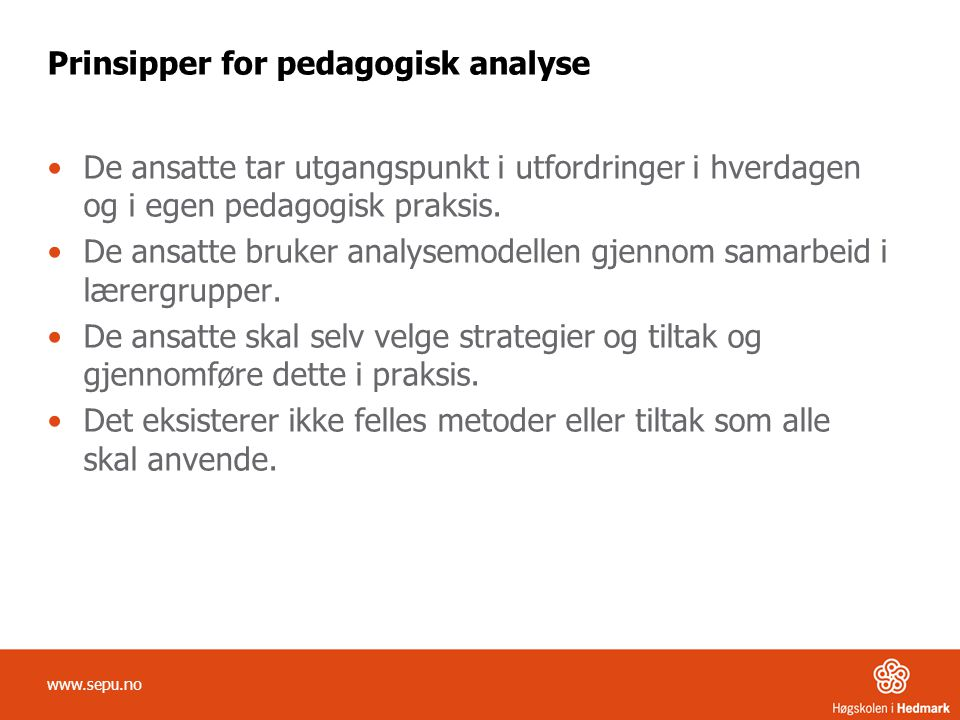 Prinsipper for pedagogisk analyse