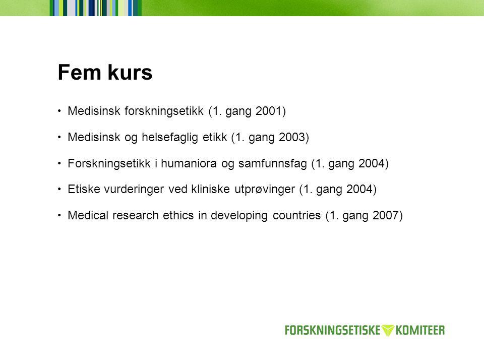 Fem kurs Medisinsk forskningsetikk (1. gang 2001)