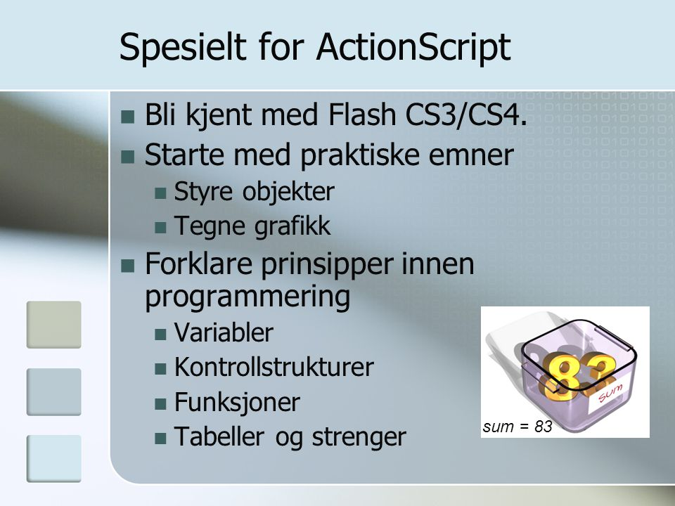 Spesielt for ActionScript