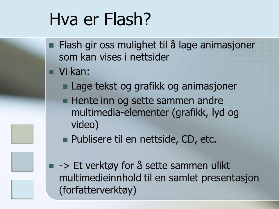 Hva er Flash Flash gir oss mulighet til å lage animasjoner som kan vises i nettsider. Vi kan: Lage tekst og grafikk og animasjoner.