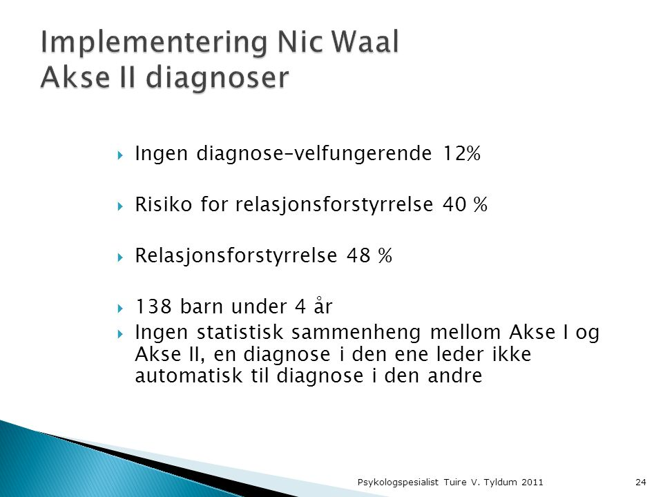 Implementering Nic Waal Akse II diagnoser