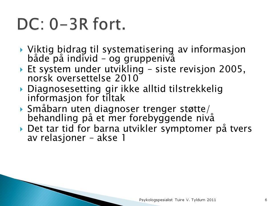 DC: 0-3R fort. Viktig bidrag til systematisering av informasjon både på individ – og gruppenivå.