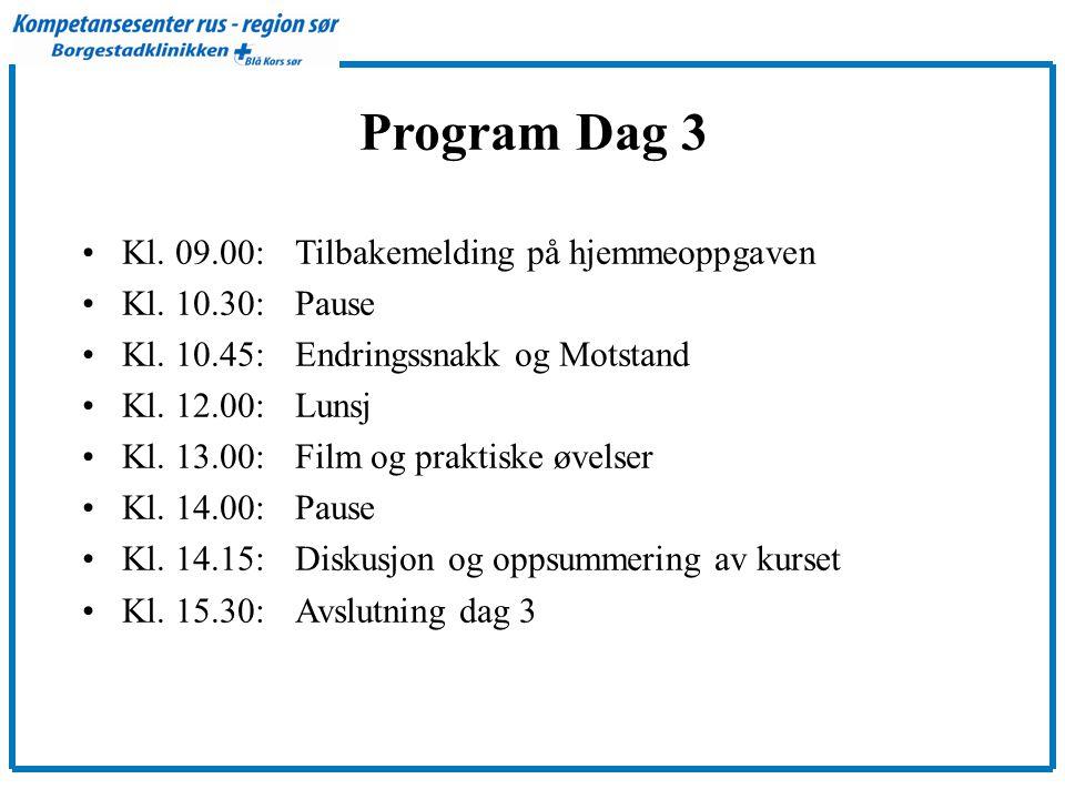 Program Dag 3 Kl. 09.00: Tilbakemelding på hjemmeoppgaven