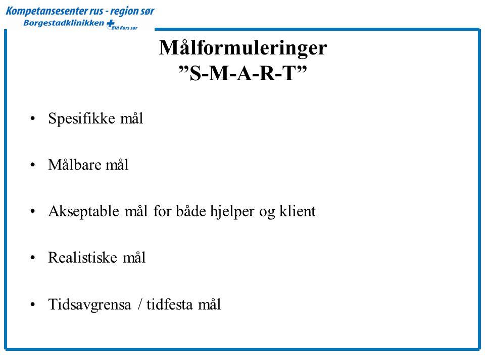 Målformuleringer S-M-A-R-T