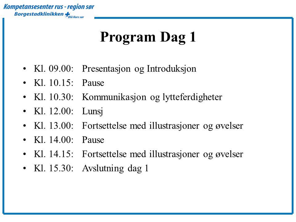 Program Dag 1 Kl. 09.00: Presentasjon og Introduksjon Kl. 10.15: Pause