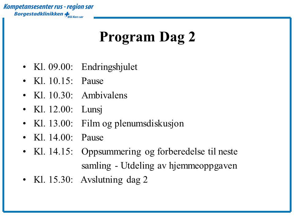 Program Dag 2 Kl. 09.00: Endringshjulet Kl. 10.15: Pause