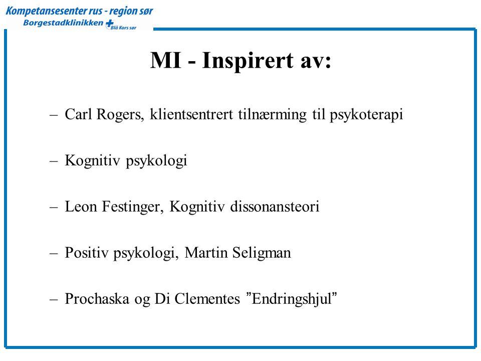 MI - Inspirert av: Carl Rogers, klientsentrert tilnærming til psykoterapi. Kognitiv psykologi. Leon Festinger, Kognitiv dissonansteori.