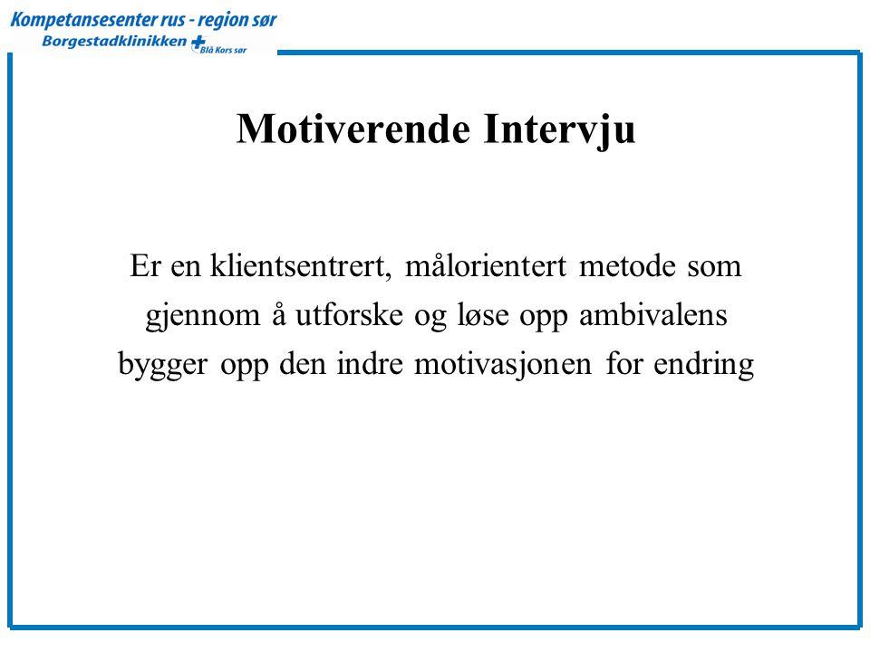 Motiverende Intervju Er en klientsentrert, målorientert metode som