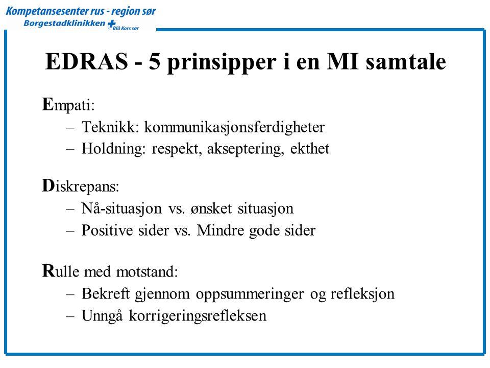 EDRAS - 5 prinsipper i en MI samtale