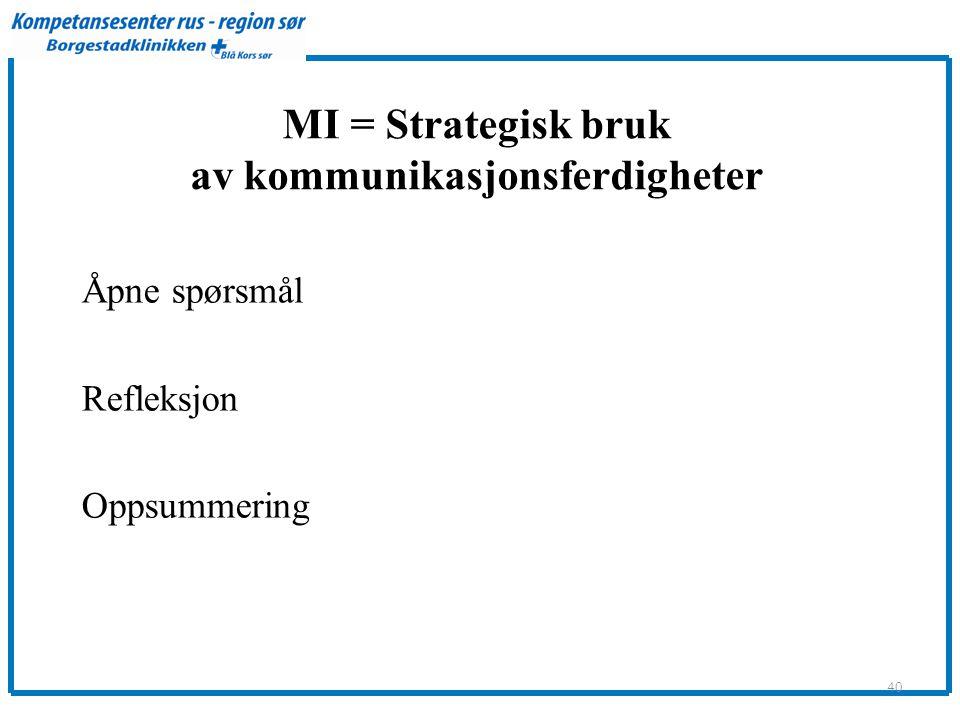 MI = Strategisk bruk av kommunikasjonsferdigheter