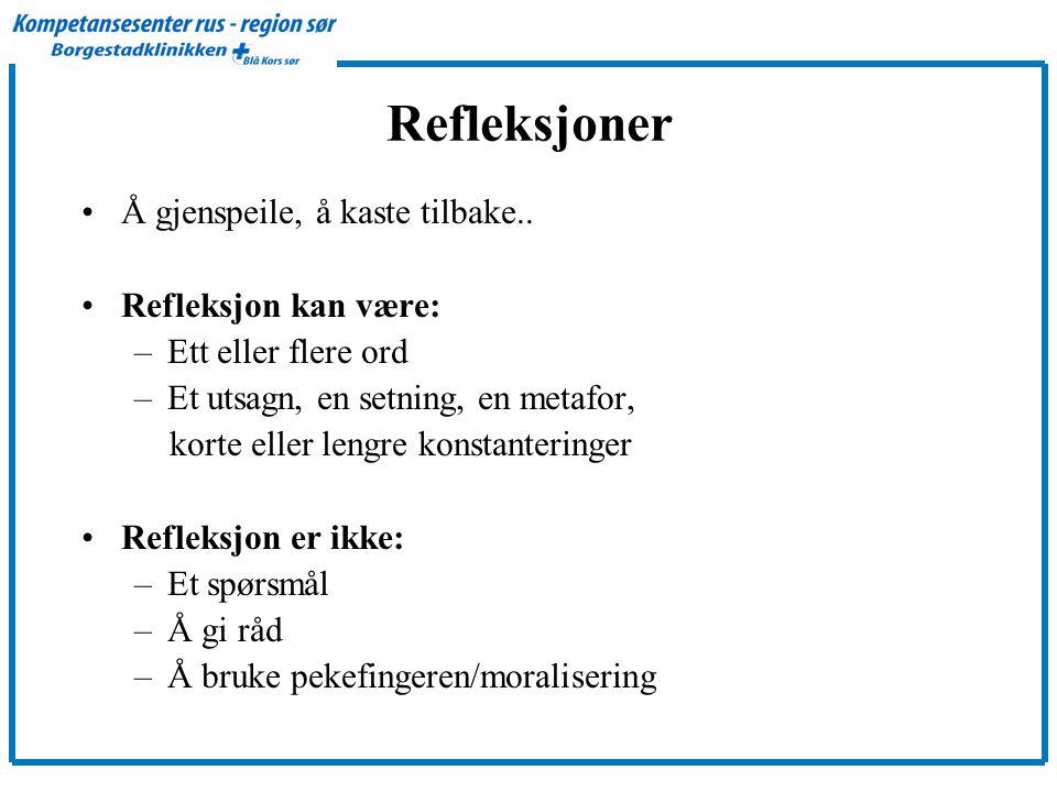Refleksjoner Å gjenspeile, å kaste tilbake.. Refleksjon kan være: