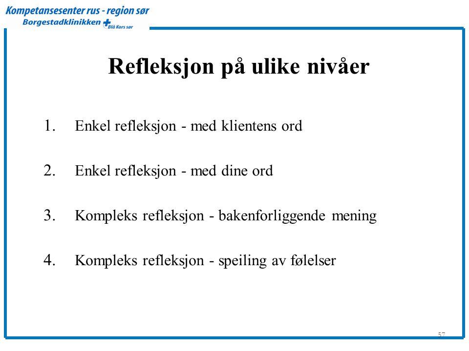 Refleksjon på ulike nivåer