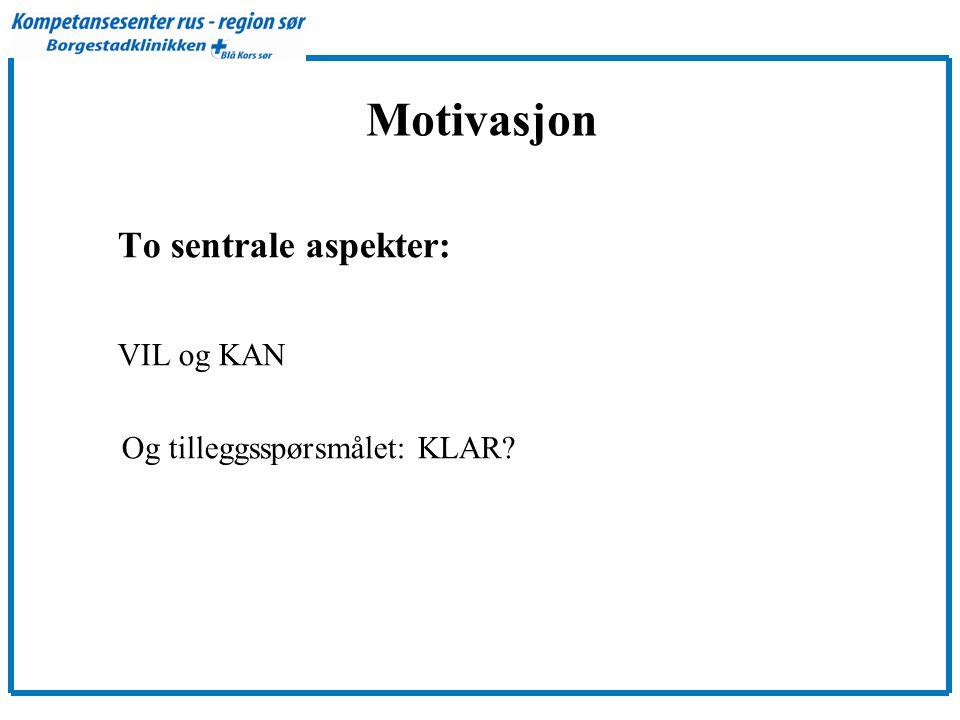 Motivasjon VIL og KAN To sentrale aspekter: