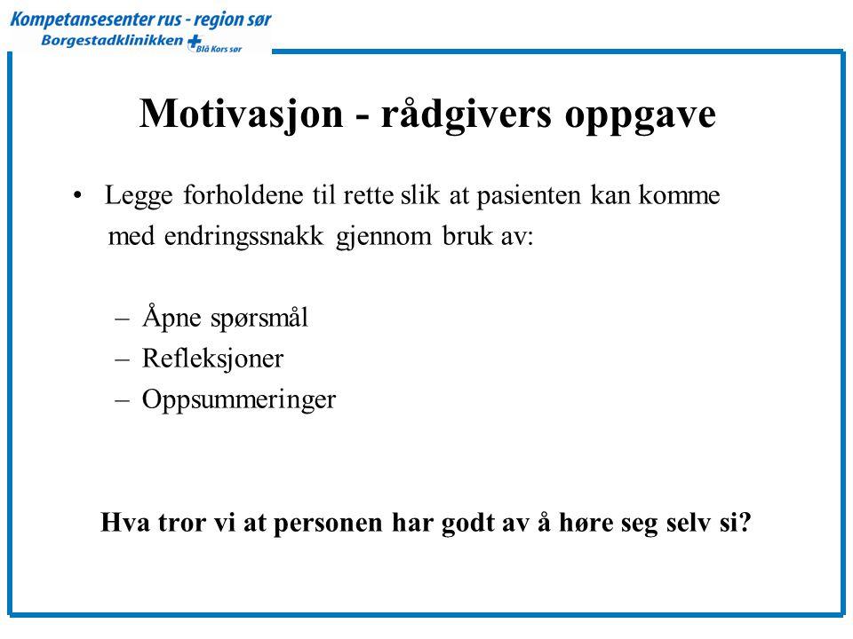 Motivasjon - rådgivers oppgave