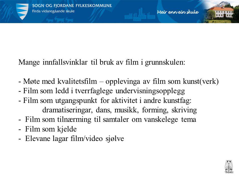 Mange innfallsvinklar til bruk av film i grunnskulen: