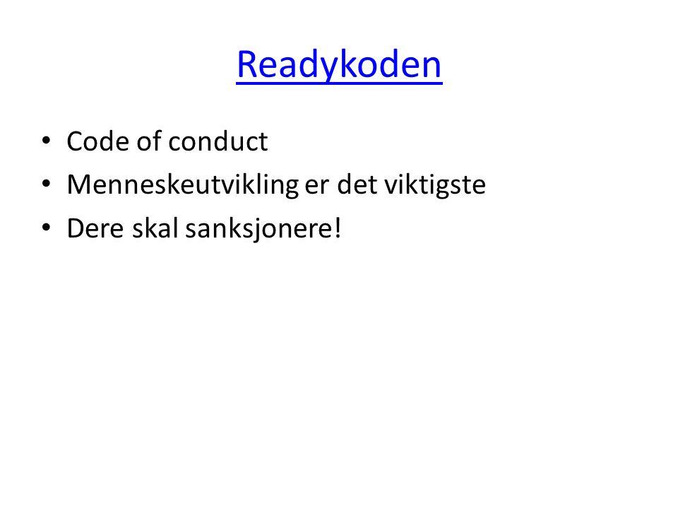 Readykoden Code of conduct Menneskeutvikling er det viktigste