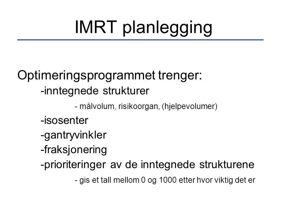 IMRT planlegging Optimeringsprogrammet trenger: -inntegnede strukturer