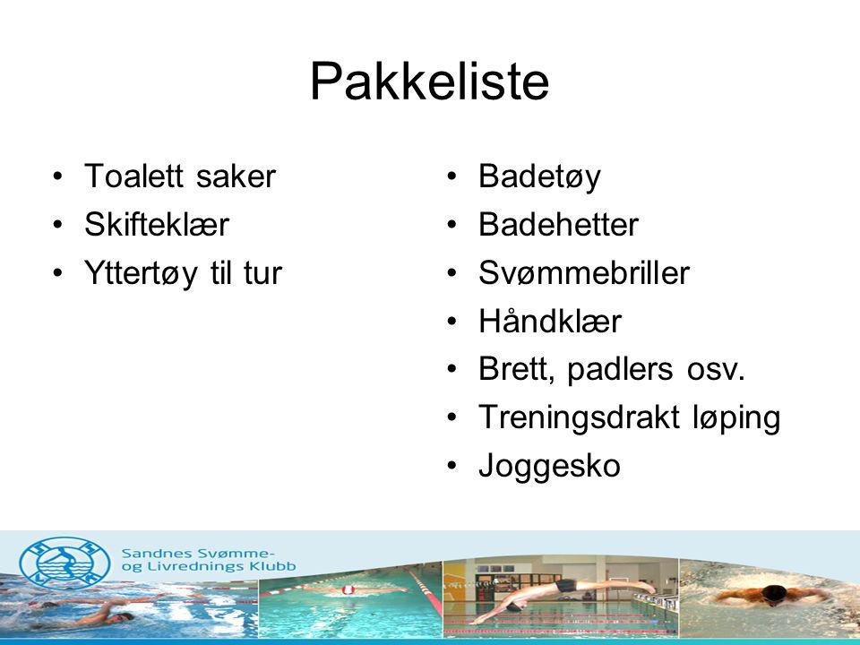 Pakkeliste Toalett saker Skifteklær Yttertøy til tur Badetøy