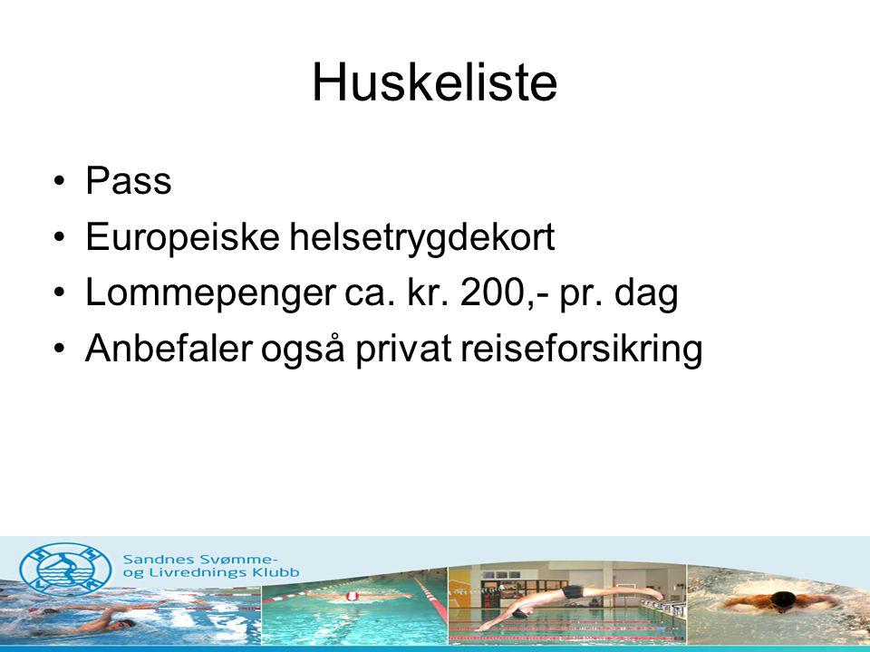 Huskeliste Pass Europeiske helsetrygdekort