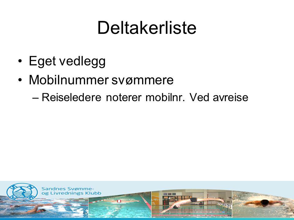 Deltakerliste Eget vedlegg Mobilnummer svømmere