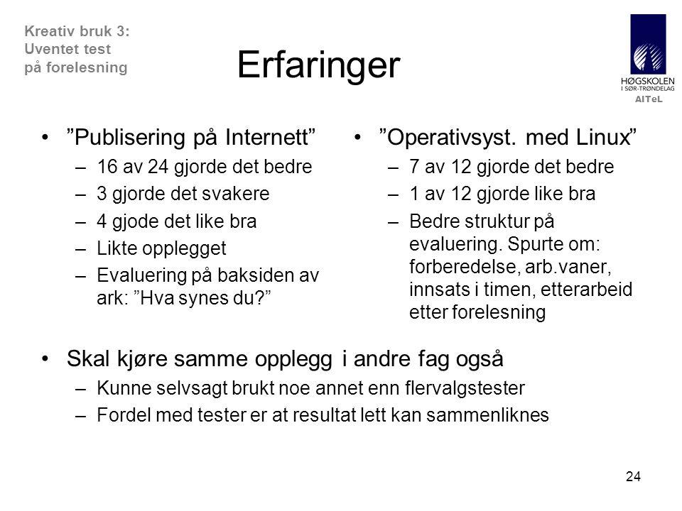 Erfaringer Publisering på Internett Operativsyst. med Linux