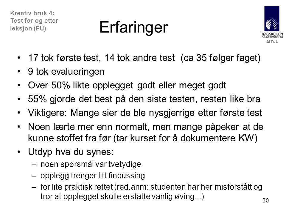 Erfaringer 17 tok første test, 14 tok andre test (ca 35 følger faget)