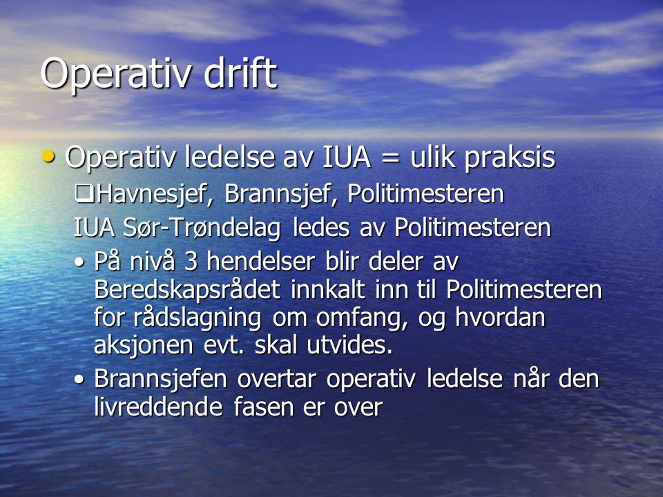Operativ drift Operativ ledelse av IUA = ulik praksis