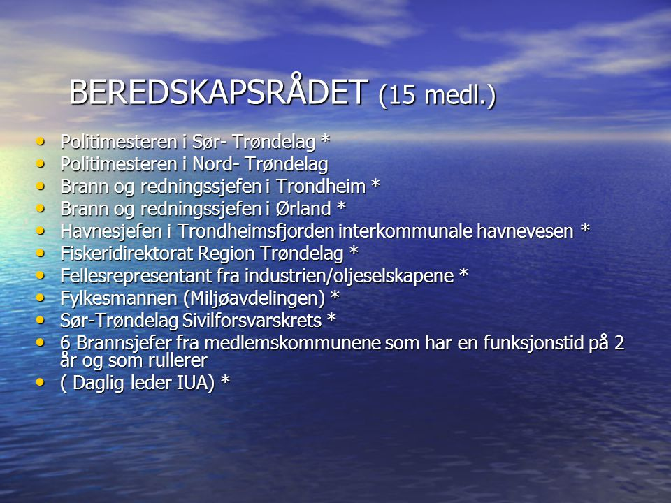 BEREDSKAPSRÅDET (15 medl.)