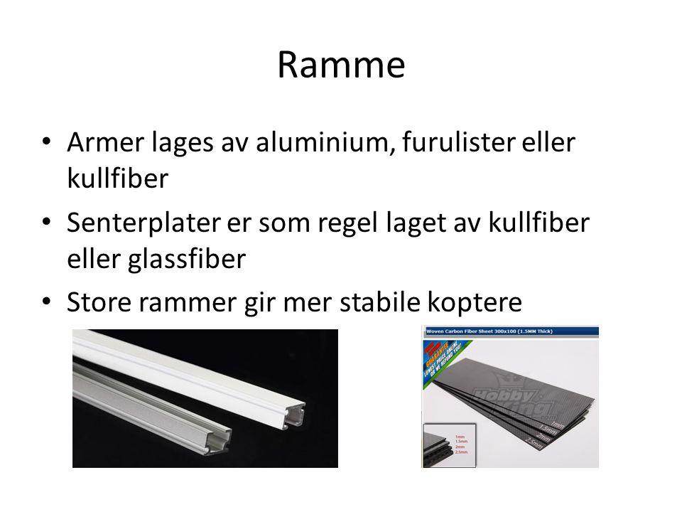 Ramme Armer lages av aluminium, furulister eller kullfiber