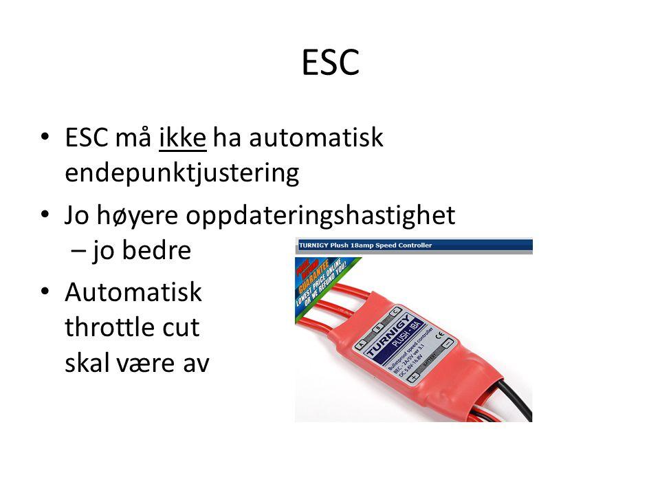 ESC ESC må ikke ha automatisk endepunktjustering