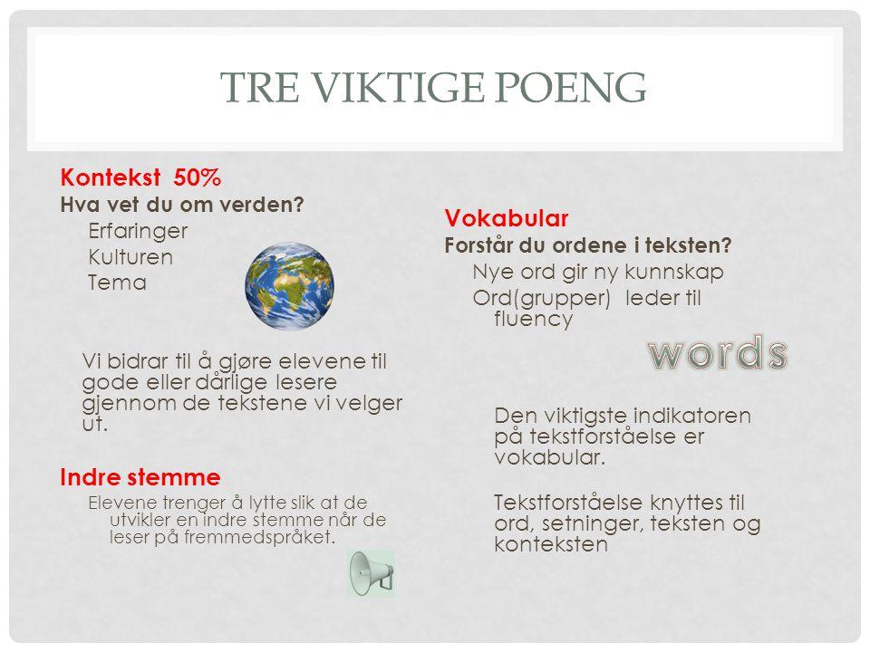 words Tre viktige poeng Kontekst 50% Vokabular Indre stemme