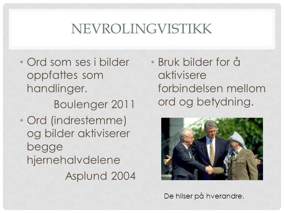 Nevrolingvistikk Ord som ses i bilder oppfattes som handlinger.