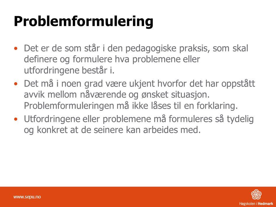 Problemformulering Det er de som står i den pedagogiske praksis, som skal definere og formulere hva problemene eller utfordringene består i.